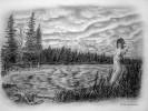 Landschaft, Zeichnung, Zeichnungen, See