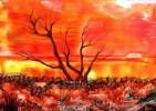 Landschaft, Rot, Baum, Malerei
