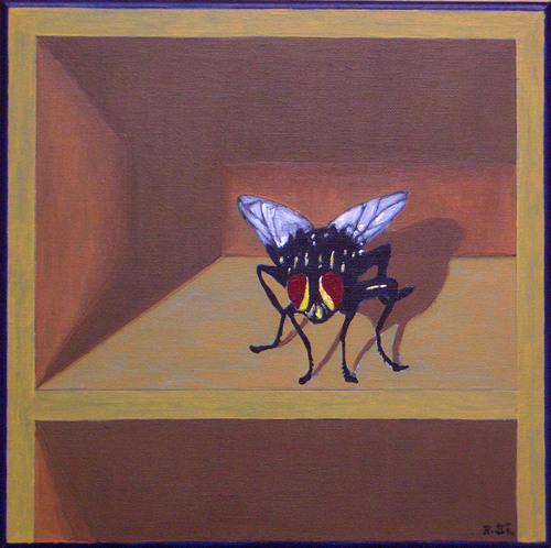 Regal, Surreal, Fliegen, Malerei, Schublade