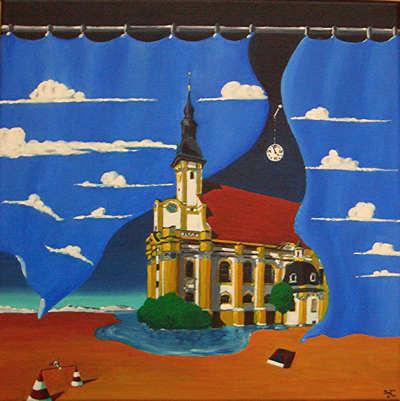Vorhang, Wolken, Malerei, Kloster, Neuzelle, Surreal