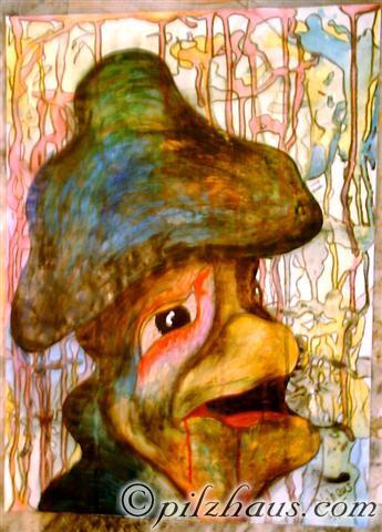 Pilze, Surreal, Struktur, Malerei, Profil, Alt