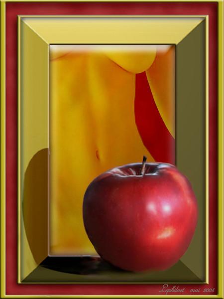 Tentation, Versuchung, Surreal, Apfel, Rot, Digital