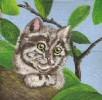 Blätter, Äste, Katze, Malerei