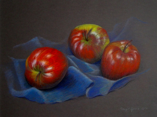 Apfel, Stillleben, Faltenwurf, Zeichnungen