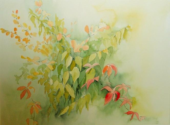 Herbst, Grafikaquarell, Blätter, Laub, Baum, Aquarell