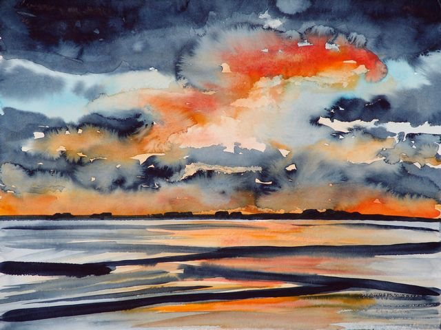 Abend, Malerei, Landschaft, Meer, Sonne, Halligen
