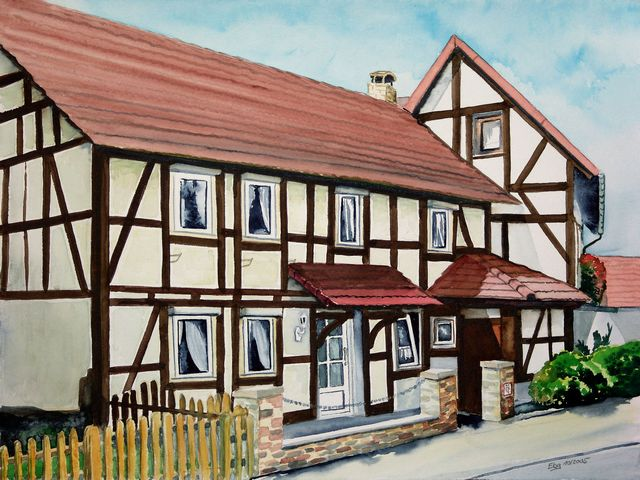 Aquarellmalerei, Haus, Stadt, Landschaft, Malerei, Fachwerk