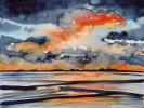 Landschaft, Abend, Malerei, Meer