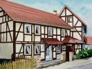 Aquarellmalerei, Haus, Stadt, Landschaft