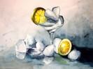 Malerei, Zitrone, Eis, Aquarellmalerei