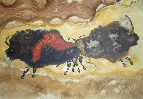 Bison, Höhle, Wisent, Steinzeit, Lascaux, Malerei