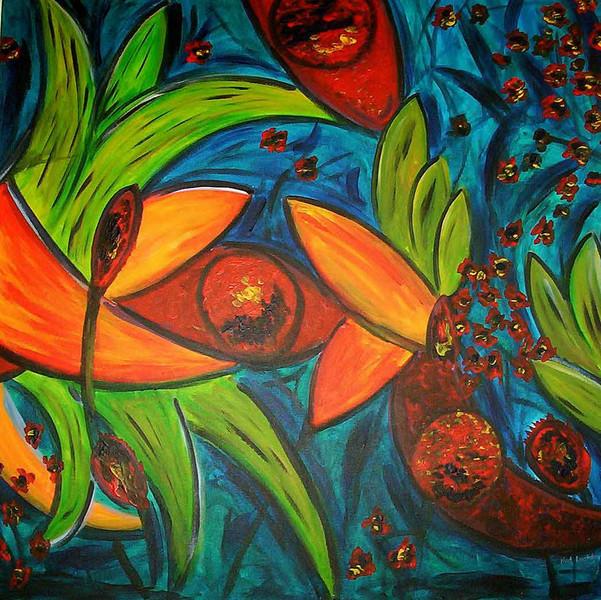 Pflanzen, Malerei, Abstrakt, Urwald