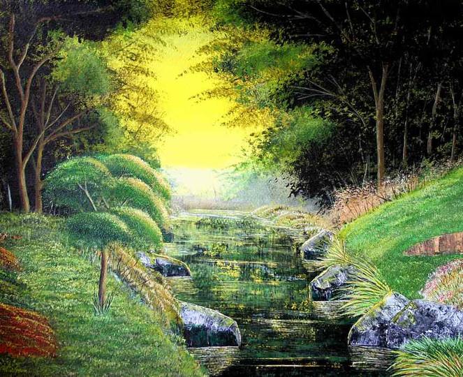 Wald, Wiese, Kitsch, Wasser, Malerei, Bach