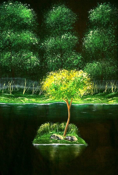 Wasser, Insel, Baum, Malerei, Kitsch, Pflanzen