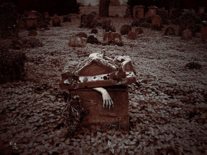 Friedhof, Digital, Grab, Halloween, Digitale kunst,