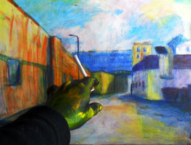 Ecke, Hand, Rauchen, Moment, Malerei, Unscharf