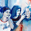 Menschen, Stimmung, Szene, Malerei