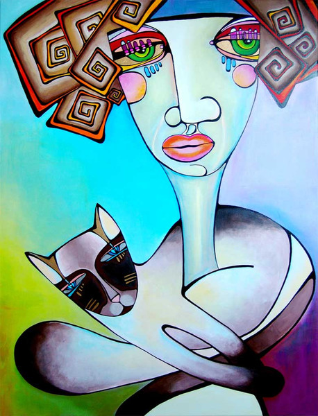 Malerei, Surreal, Katze, Frau