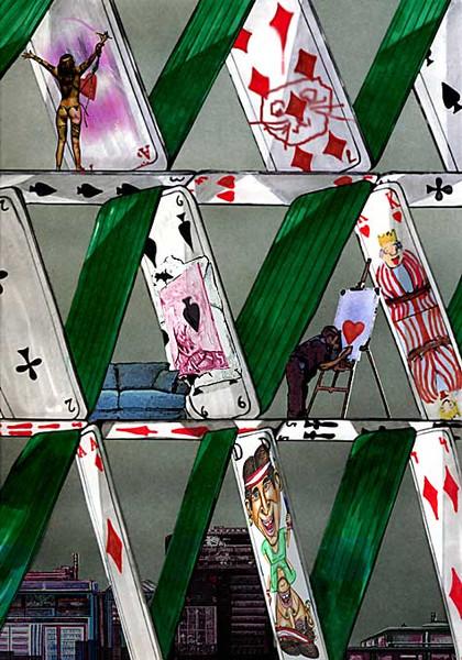 Kartenhaus, Gesellschaft, Digital, Menschen, Handwerklich, Illustration