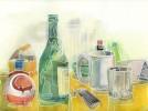 Glas, Tabasco, Malerei, Tisch
