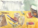 Glas, Zeit, Tisch, Tischtuch