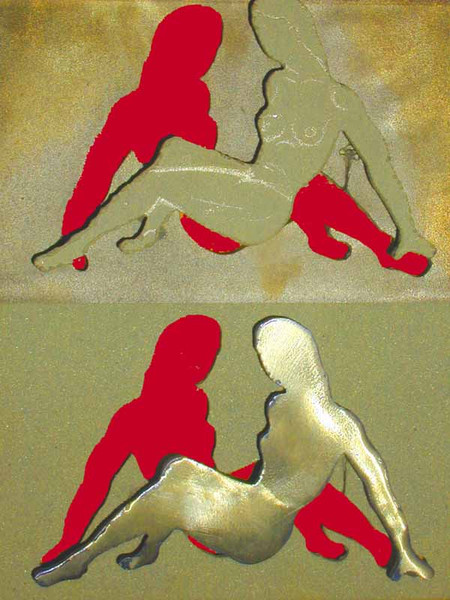 Skulptur, Beschichtung, Metall, Akt, Messing, Figural