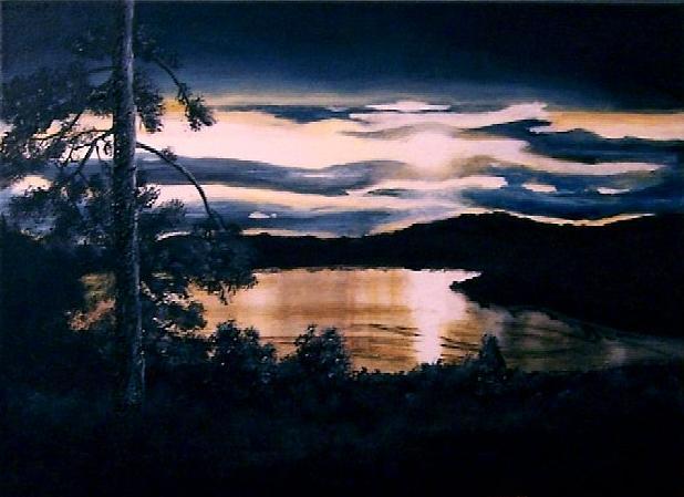 Abend, See, Norwegen, Landschaft, Malerei,