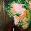 It's me in green footlight - spaetmaler selbstportrait portrait malerei real figural acryl gespachtelt