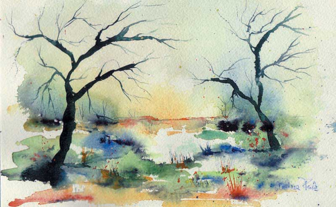 Malerei, Landschaft, Winterlandschaft