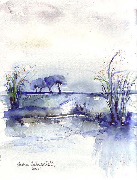 Landschaft, Malerei, Blau