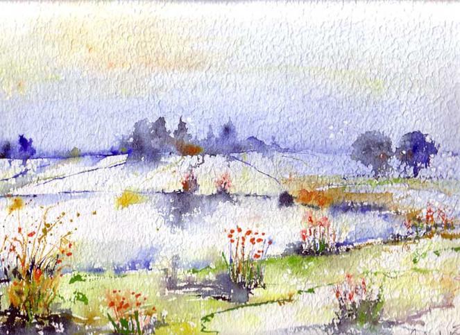 Landschaft, Farben, Aquarellmalerei, Malerei