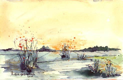 Malerei, Landschaft, Aquarellmalerei,