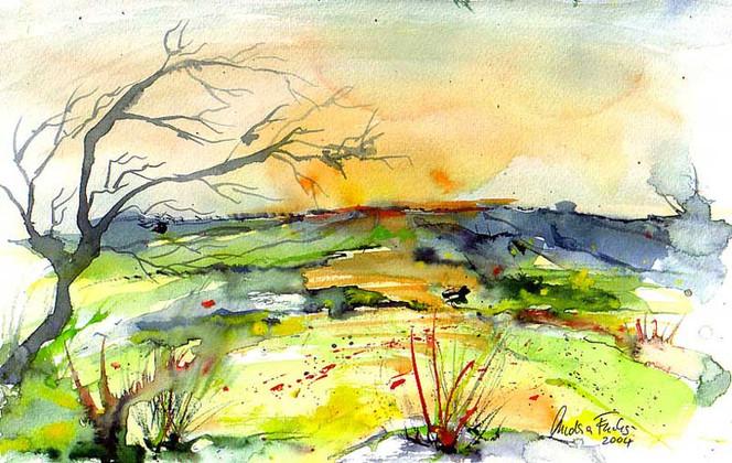 Baum, Sonne, Landschaft, Malerei