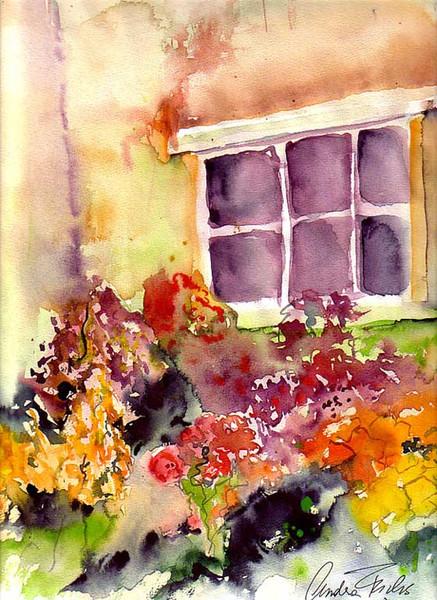 Malerei, Landschaft, Blumen, Fenster