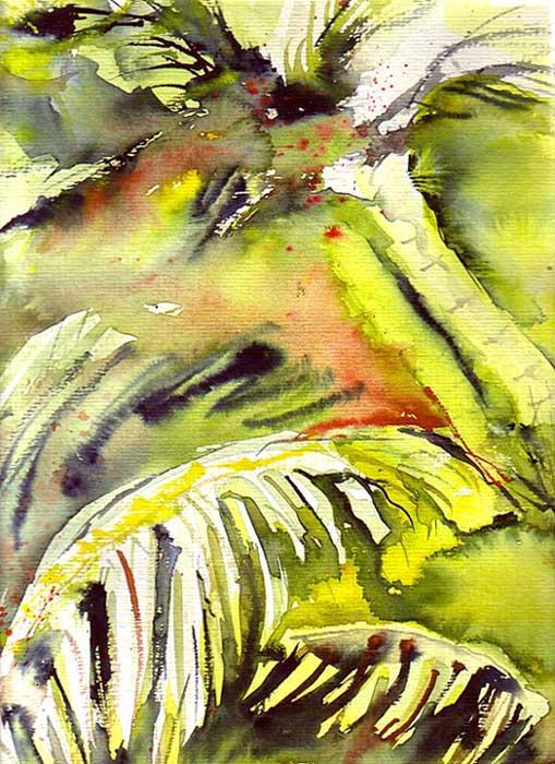 Bild urwald dschungel palmen malerei von andrea for Dschungel malen