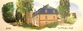 Zeichnung, Schloss, Birstein, Landschaft