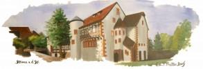 Grimm, Zeichnung, Steinau, Landschaft
