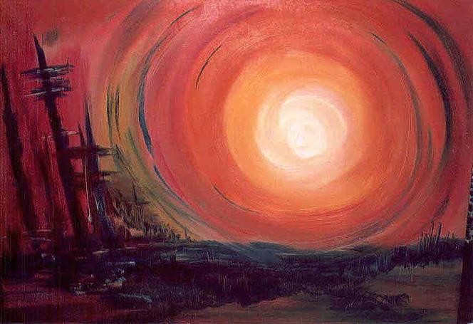Abstrakt, Malerei, Stadt, Mond, Silhouette