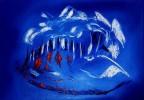 Abstrakt, Weiß, Blau, Malerei