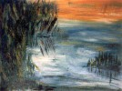 Malerei, Schilf, See, Wasser