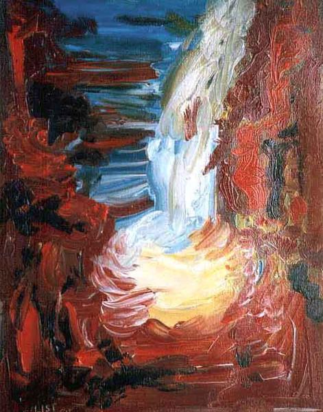 Felsen, Malerei, Wasserfall