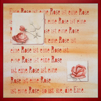 Rose, Surreal, Schrift, Collage, Malerei, Rot