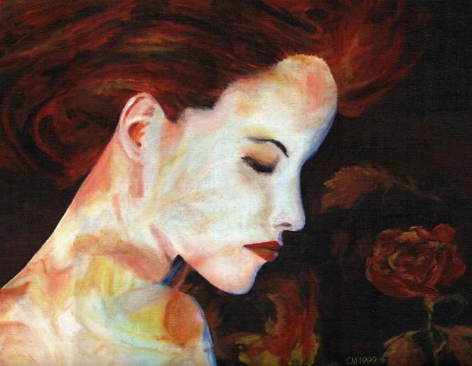 Surreal, Frau, Gesicht, Rot, Natur, Malerei