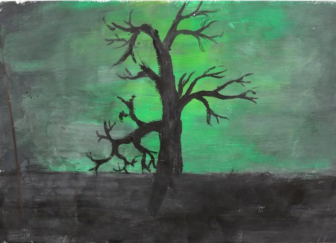 Malerei, Skizze, Grün, Romantik, Baum