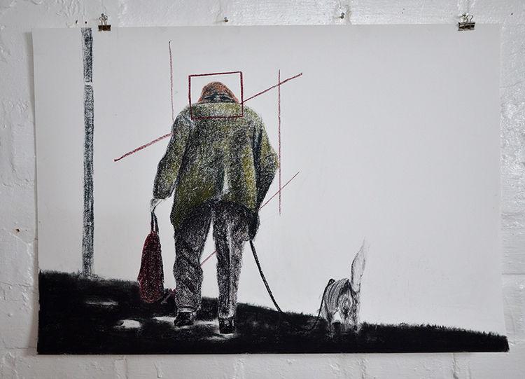 Tuch, Stehen, Hund, Alte frau, Alt, Straße