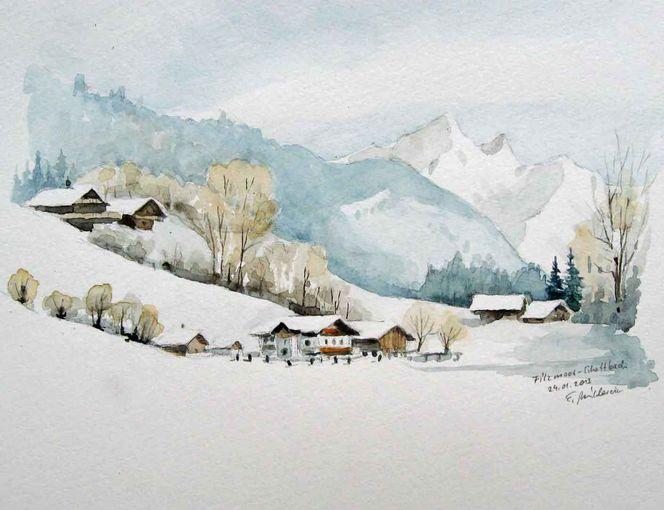 Plein air, Aquarellmalerei, Filzmoos, Salzburg, Aquarell