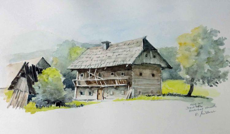 Oberwoelz, Aquarellmalerei, Bauernhof, Steiermark, Aquarell, Bauernhaus