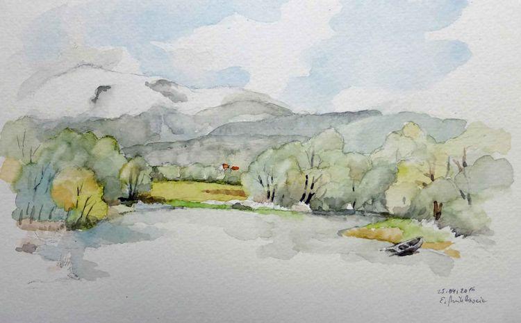 Kärnten, Landschaft, Teich, Berge, Aquarell