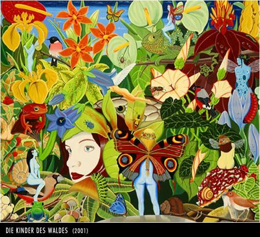 Geborgenheit, Malerei, Surreal, Wald, Harmonie, Elfen