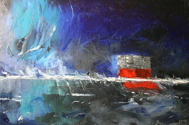 Nordlicht, Meer, Schweden, Malerei, Himmel, Haus